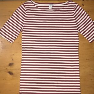 J. Crew red white striped top XS
